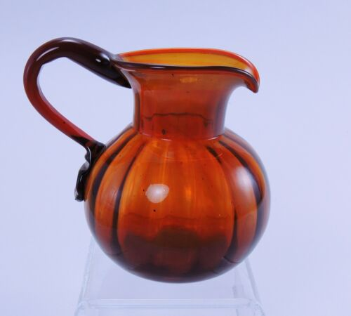 Red amber ribbed Chubby Creamer by Allie Clevenger South Jersey glass 1950s