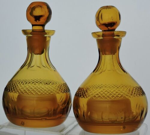 ANTIQUE DECANTER AMBER GLASS CZECH PAIR QUILTED/DIAMOND THUMBPRINT PATTERN