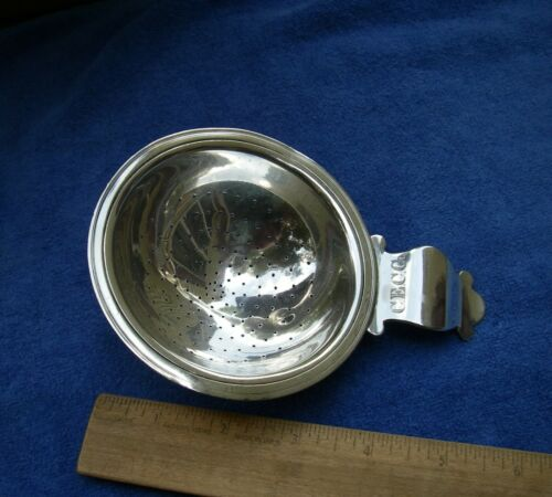 Early EUROPEAN Silver PUNCH STRAINER-Tab Handle-Mono CECG-Unmarked
