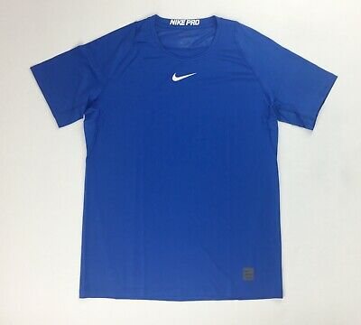 New Nike Pro Cool Fitted Short Sleeve Shirt Men's Large Training Top Blue 908090