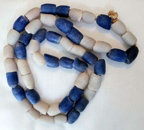 "ANTIQUE large & early Ghana powder glass COBALT BLUE TRADE BEADs 32"" strand"