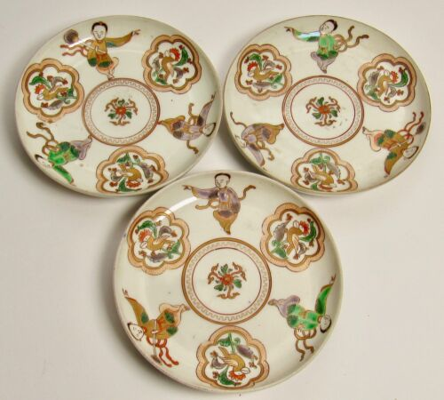 Lot of 3 Rare Antique Chinese Kangxi Wucai Famille Verte Porcelain Saucers