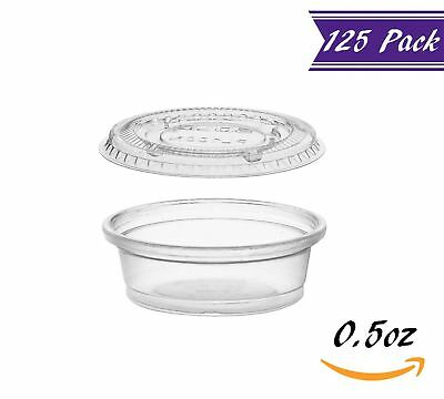 (125 Pack) 0.5-Ounce Plastic Portion Cups with Lids, Clear Condiment Cups
