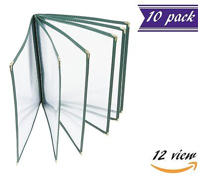 10 Pack 6 Page Book Fold Menu Covers Green 12 View 8.5 X 11-inches Insert