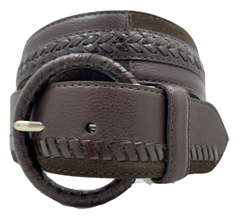 Brighton PATCHWORK Brown Leather Belt    Size 28   NWT   B31148