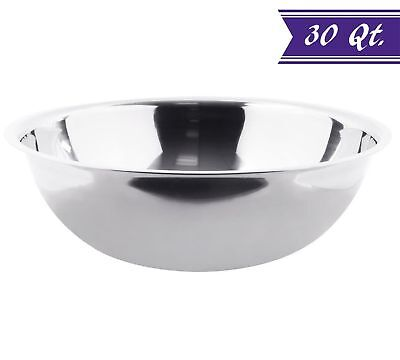30 Quart Stainless Steel Mixing Bowl Extra Large, Polished Mirror Finish  Quart Polished Stainless Steel Bowl