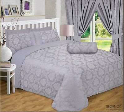 DOUBLE BED REGENCY SILVER GREY LUXURY DAMASK JACQUARD BEDDING SET 4 PILLOWCASES