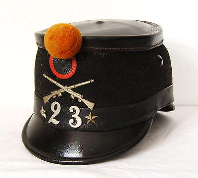 Original Tschako, Shako Hat Kokarde Pompon, Landwehr, Infanterie, Schweiz, 1893