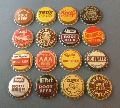16 Vintage Root Beer cork lined soda bottle caps Brownie, Lash's, Purity, Clown