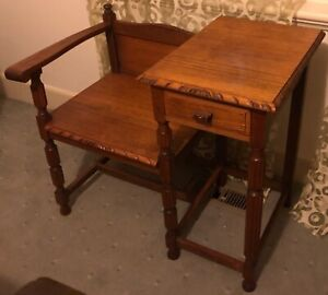 Antique Oak Telephone Table And