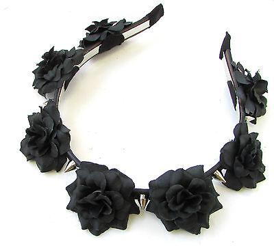 Skull Headband Halloween (Black Rose Silver Spike Flower Headband Halloween Sugar Skull Pastel Goth)