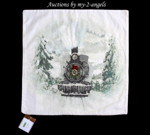 NWT Pottery Barn Holiday NOSTALGIC SANTA TRAIN Pillow Cover 20X20 * Christmas