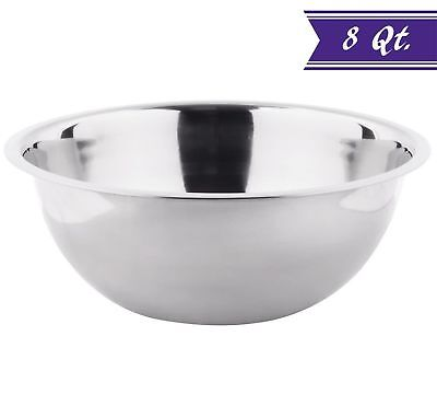 8 Quart Mixing Bowl Stainless Steel, Polished Mirror Finish Nesting Bowl Quart Polished Stainless Steel Bowl