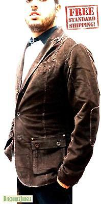 Mens Casual Sports Coats - Mens Blazer/Sport Coat Single Breasted US Size Casual Distressed Jacket - BROWN