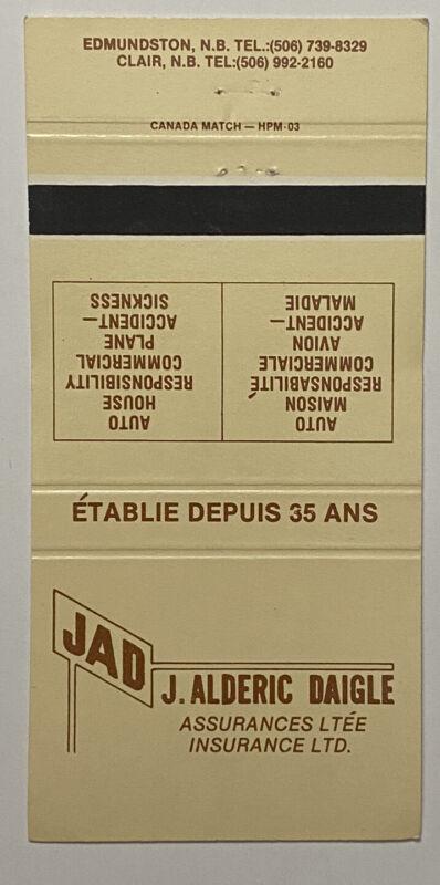 Vintage 30 Strike J.Alderic Daigle Insurance Matchbook Cover Ad a0701