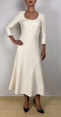 Nuevo Christian Dior Marfil Blanco Roto Seda Lana Boda Rtw Vestido Acampanado...