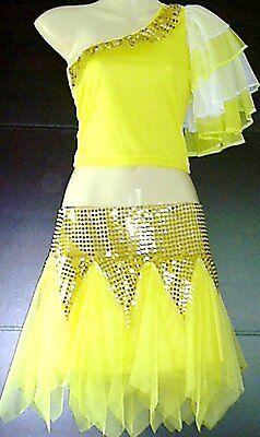 Mädchen Cheerleader-Kostüm/Uniform Fasching/Karneval Gelb/Gold Gr. 98-170