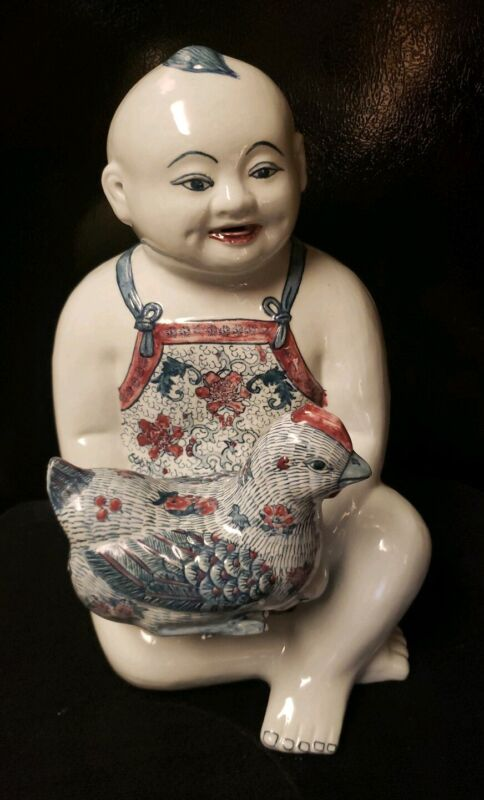 Large vintage Antique Chinese Famille Rose Porcelain  Buddha Child with Chicken