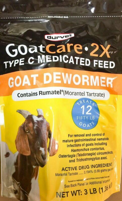 Goat Care 2X type C Medicated Feed Pellets Goat Dewormer 3lb Durvet