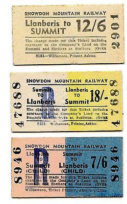 SNOWDON MOUNTAIN RAILWAY, LLANBERIS: 3 X PRE-DECIMAL EDMONDSON TICKETS.