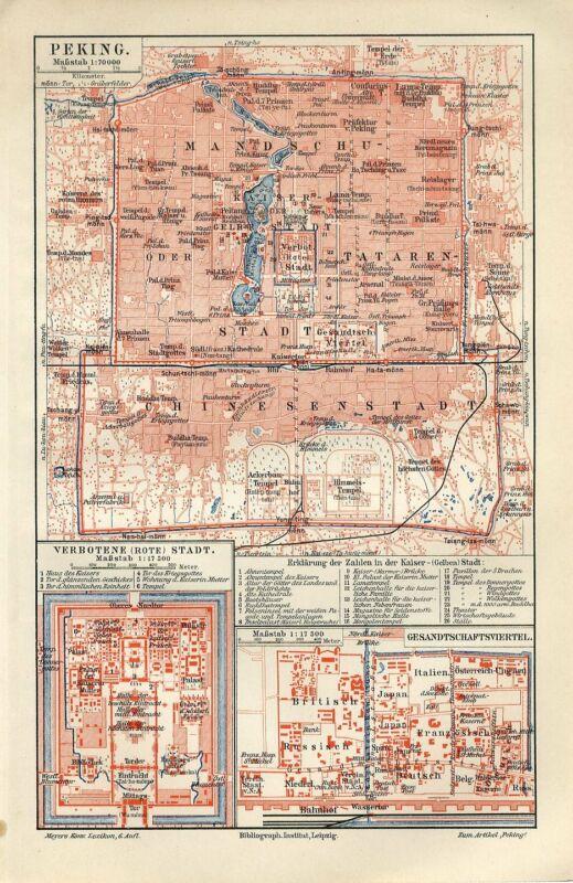 1899 CHINA BEIJING PEKING CITY PLAN FORBIDDEN RED CITY Antique Map