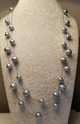 RARE Genuine HONORA Blue / grey freshwater Pearl Necklace two strand NWOT