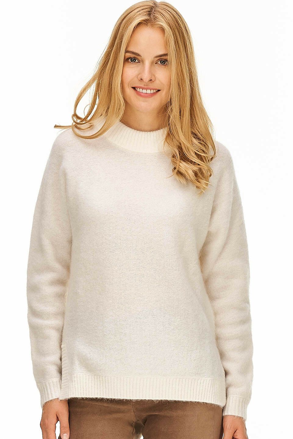 Rollkragen Pullover Damen beige Strukturstrick Designer Neu 100 € OUI