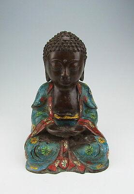 CHINA ANTIQUES CLOISONNE COPPER TIBETAN BUDDHA STATUE