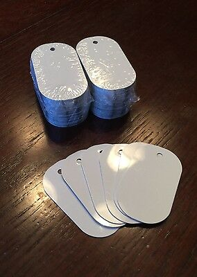 Gloss White Aluminum Dye Sublimation Dog Tag Blanks - 100pcs