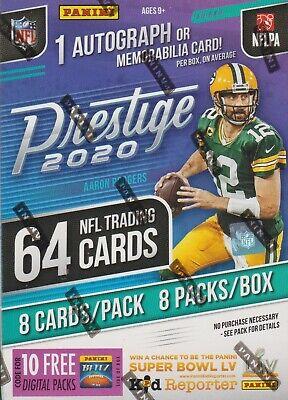 2020 Panini Prestige Football sealed unopened blaster box 8 packs 8 NFL cards