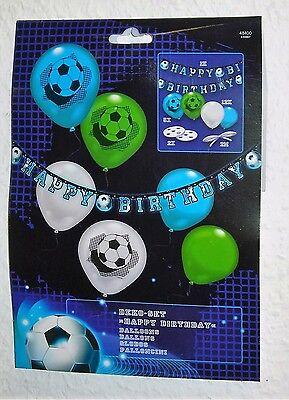 Happy Birthday Ballon-banner (21 tlg Fußball Dekoset Partyset Partykette Happy Birthday Luftballon Banner)