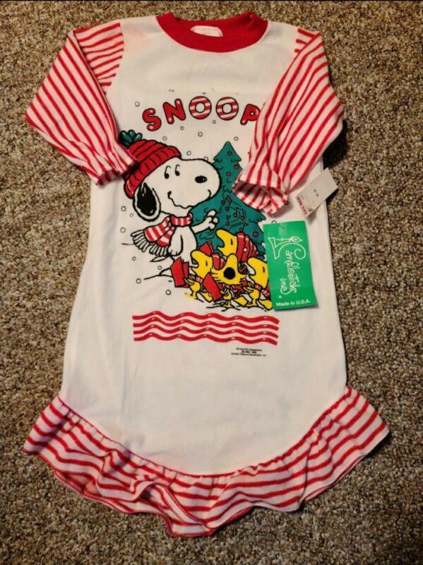 Vintage Snoopy Peanuts Nightgown Pajama Girls sz 3T Union Made USA Christmas