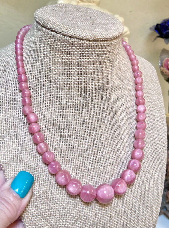 Wonderful Antique Sterling Silver Italian Pink Satin Art Glass Beaded Necklace