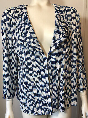 Travelers Collection Chicos Womens 2 Medium Blue White Crinkle Jacket Animal