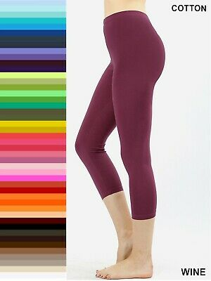 Leggings Yoga Pants High Waisted Cotton Stretch 3/4 Capri Length S-XL Plus 1X-3X