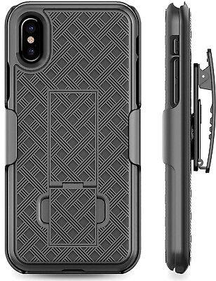for iPhone X / iPhone 10 - Black Holster Swivel Belt Clip Hard Slim Case Cover