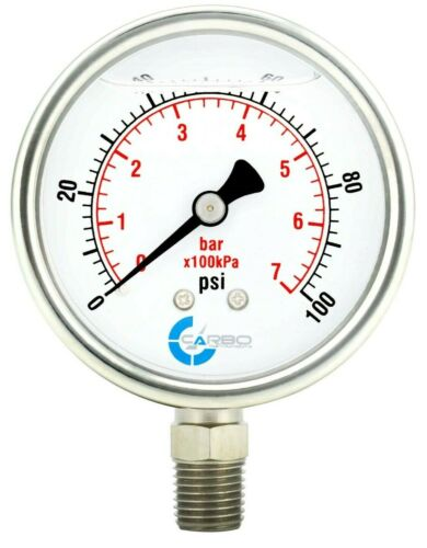 "2-1/2"" Pressure Gauge, ALL STAINLESS STEEL, Liquid Filled, Lower Mnt, 100 Psi"