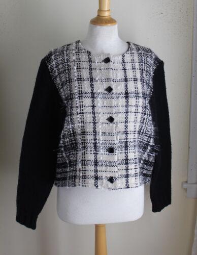 Dorothy+Schutte+Fiber+Artist+Handwoven+Tweed+Chic+Wool+Knit+Sweater+Jacket+S+M+L