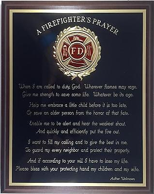 (FIREFIGHTER'S PRAYER PLAQUE - Can be Personalized - Great Gift or Award !)