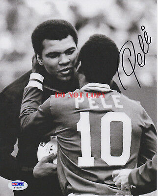 Pele Autographed 8x10 Muhammed Ali Hug Signed Photo Reprint ()