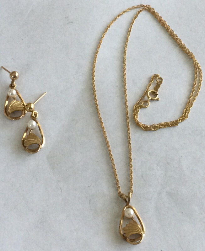 """Beautiful Rare Gold Filled Art Nouveau Pearl Earring & Necklace 18"""" Set AX62"""