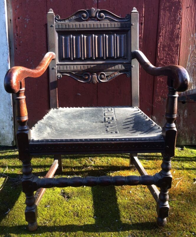 Great Old Kittinger Mahogany Carved Arm Chair Ruehauf Leather Seat Shipping Ok