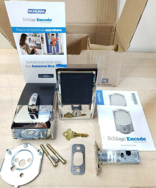 Schlage BE489WB CEN 625 Encode Smart Wi-Fi Door Lock With Alarm Bright Chrome
