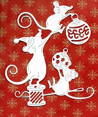 NEW LARGE TATTERED LACE MICE + BAUBLES  DIE CUTS-  CHRISTMAS TOPPER TREE