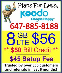 Koodo $56 8GB LTE Data talk text plan + $50 Bonus (Limited Time)