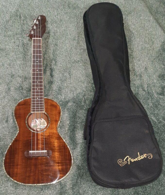 MINT Fender Koa Nohea LOVELY Montecito Tenor Ukulele Solid Koa Top Soft Case IGU