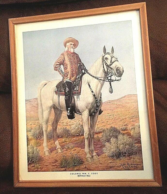 """Vintage Antique 1922 William F Cody Buffalo Bill framed Print 14"""" x 12"""" Western"""