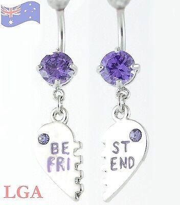 BEST FRIENDS Crystal Dangle Belly Bar Naval Ring Jewelled BFF 2 Belly Bars