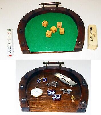 Antique English Oak Horseshoe Dresser / Jewelry / Valet Tray & Poker Dice Game