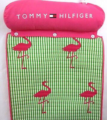 """TOMMY HILFIGER Beach Roll-up Mat 24"""" x 75"""" Rare Flamingos Green Pink w/Neck Roll"""